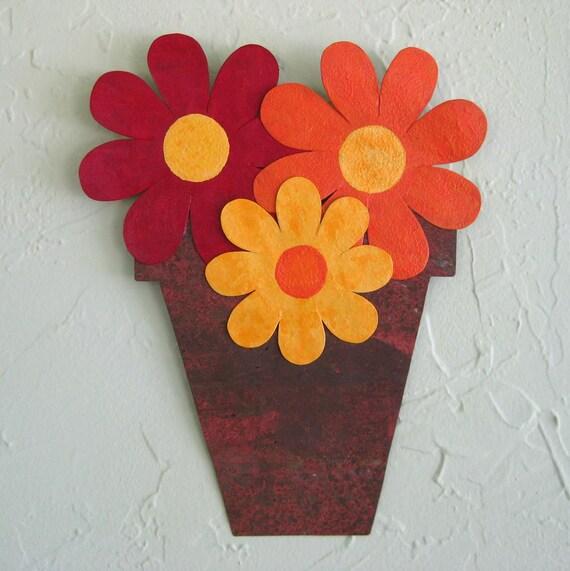 Sale art sculpture -Flower Pot - Repurposed  wall sculpture Hand painted 9 x 11