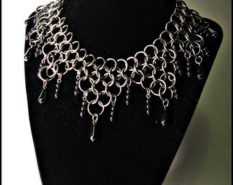 Deluxe Marquis Mantle Hematite Stainless Steel Chainmaille Necklace Choker