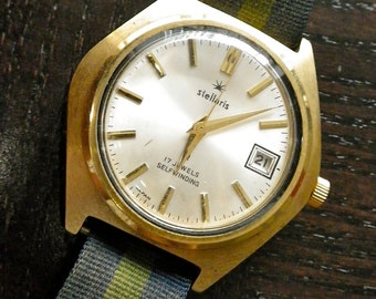 Unusual Vintage Gold Self WInding Chunky Watch