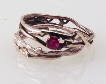 Simply Ruby Engagement Ring w/ Silver Wedding Band