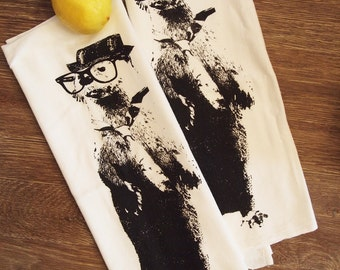Set of 2 OTTER - Multi-Purpose Flour Sack Bar Towels - Renewable Natural Cotton