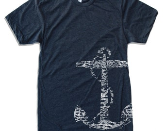 Men's Vintage ANCHOR t shirt american apparel S M L X L (16 Colors Available)