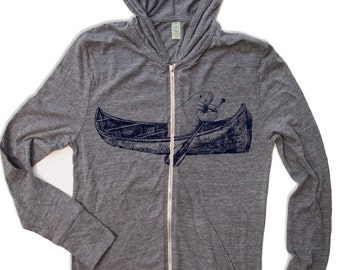 Unisex MANATEE in a Canoe Eco Zip Lightweight Hoody -  xs s m l xl (+ Colors)