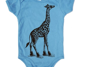 Baby One-Piece GIRAFFE (in High Tops) -  american apparel (3 Color Options) - FREE Shipping