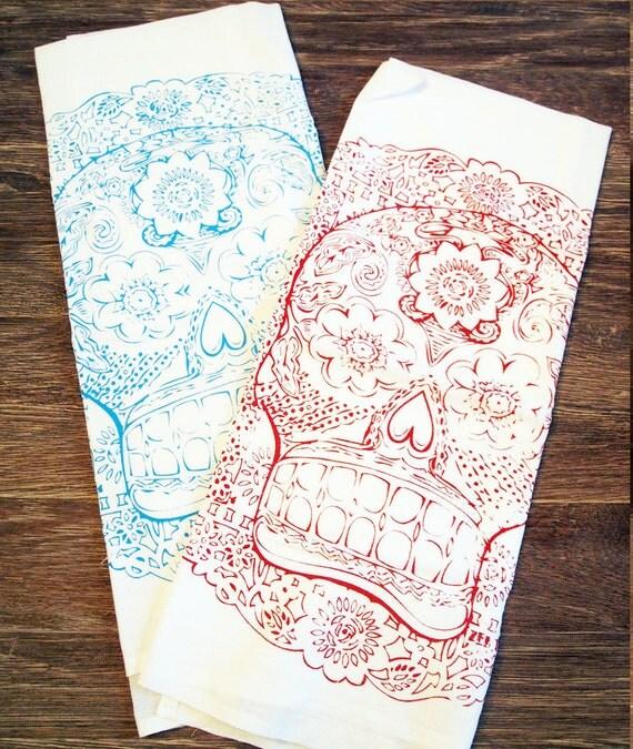 Set of 2 Towels - DAY Of The DEAD - Multi-Purpose Flour Sack Bar Towels - Renewable Natural Cotton