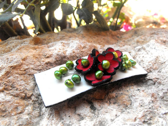 SALE Bright Leather flower barrette with freshwater pearls Leather jewelry