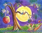 Night Music Apple Tree Singing Guitar Watercolor Greeting Card Handpainted