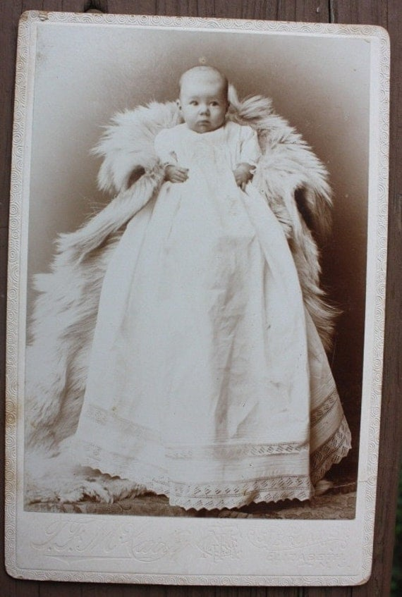 Cabinet card of a wonderful baby in a fur