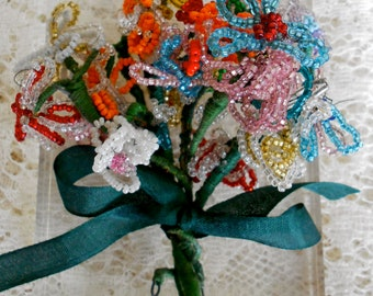 1940's Handmade Beaded Flower Bouquet