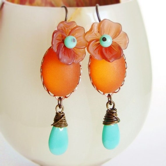 Peach Aqua Earrings Vintage Frosted Glass Cabochons Topaz Amber Black Friday Cyber Monday 20% Off