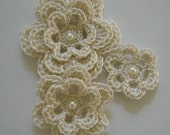 Crocheted Flowers - Antique White With a Pearl - Cotton Flowers - Crocheted Flower Appliques - Crocheted Flower Embellishments