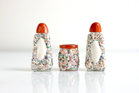 Kitschy Sea Shells and Glitter Salt and Pepper Shakers