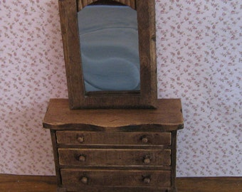 Chest of drawers and mirror, twelfth scale dollhouse miniature