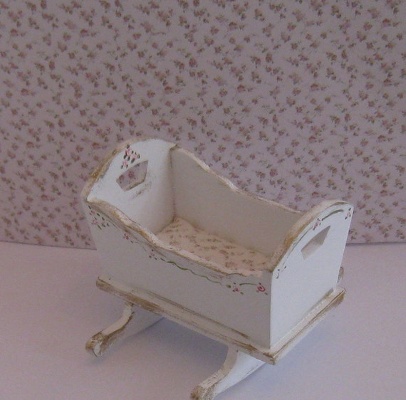 Shabby Chic cradle, ,  distressed white with rose bouquets,  Twelfth scale dollhouse miniature