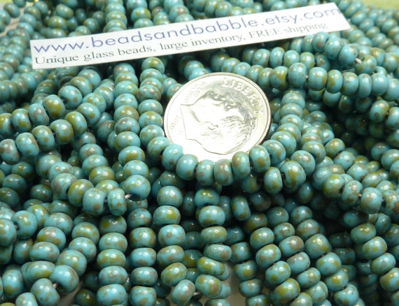 6/0 Opaque Blue Turquoise Picasso Firepolished Czech Glass Seed Bead Strand