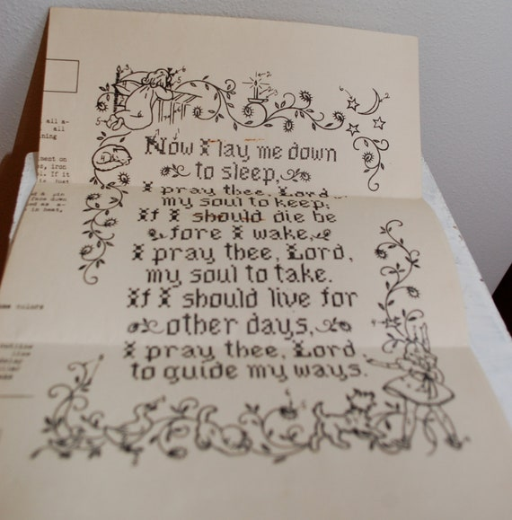 Vintage 1940s Child's Prayer Embroidery Pattern Mail Order SF Chronicle
