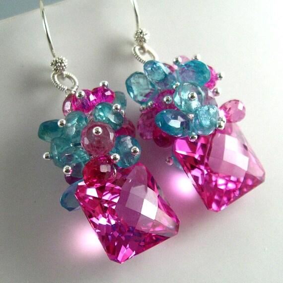 Pink Topaz Earrings, Topaz, Apatite and Quartz  Cluster Dangle Earrings