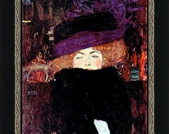 Lady with Hat and Feather Boa by Gustav Klimt  - Giclee Art Print