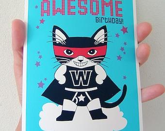 Wonder Cat Birthday Greeting Card for Boy