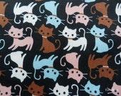 SALE - Cute Cats on Black - Half Yard (12ma1028)