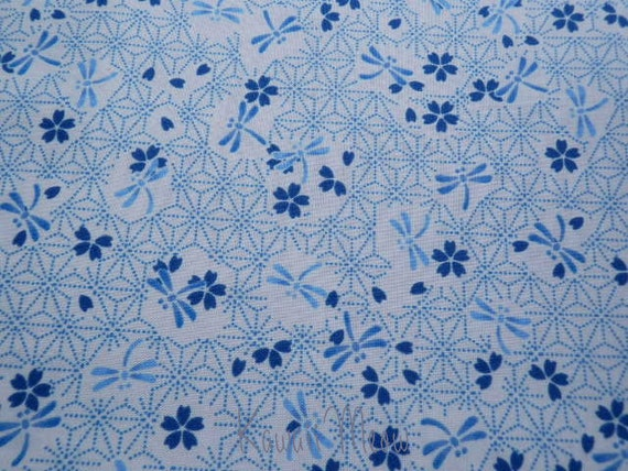 Beautiful Japanese Fabric - Dragonfly Sakura on White - Fat Quarter (12ta0628)