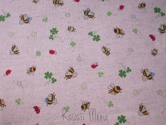 SALE - Cotton Linen Clover Bee on Pink - Half Yard  (ko1215)