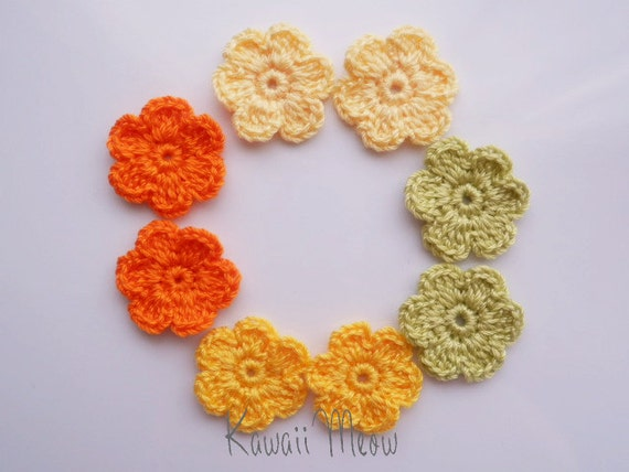 Kawaii Crochet Applique Motif Flowers Set of 8 - Yellow -