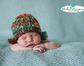 "Knit Newborn ""Flippie Flappie"" Beanie with Ear Flaps and Natural Twig Button"
