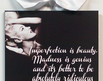 Marilyn Monroe Quote Imperfection Is Beauty wood wall plaque