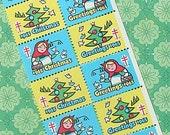 Vintage Christmas Seals 1965 Vintage Paper Ephemera Red Riding Hood