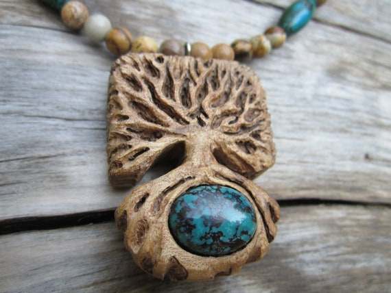 Necklace- Turquoise Tree of Life- Carved Wooden Necklace in Reclaimed Maple with Turquoise
