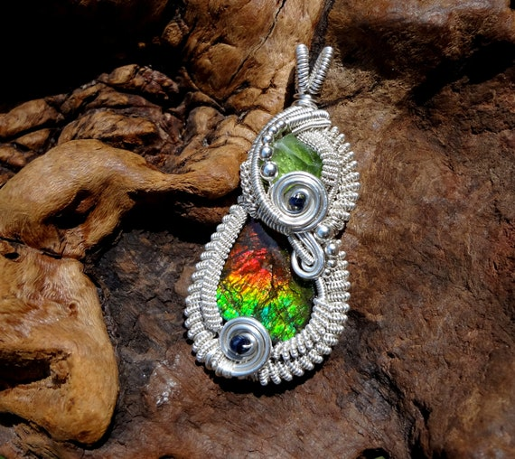 RESERVED FOR MIKE - Peridot, Ammolite and Sapphire Wire Wrapped Pendant