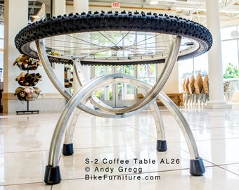 Bike Part (Bicycle Wheels) Coffee Table - S-2 Aluminum MTB