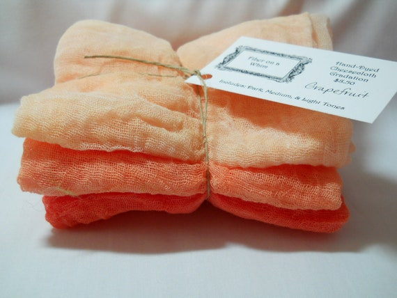 Grapefruit- 3pc Hand-Dyed Cheesecloth Gradation