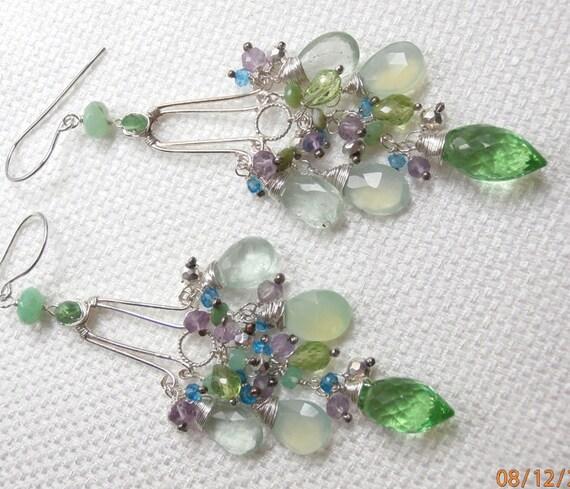 RESERVED for S - ON SALE 30% off - Wire Wrap Gemstone Chandelier Earrings Green Sterling Silver Pastel Gemstones Earrings - Layaway Pmt 1