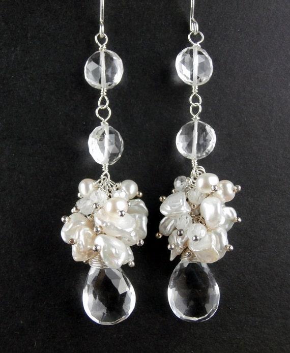 Keishi Pearl Cluster Bridal Earrings Long Rock Crystal Earrings Wire Wrap Wedding Earrings Bohemian Beach Wedding Earring Boho Bride
