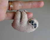 Sloth miniature felt plush stuffed animal with bendable legs and hand painted face - tan - rain forest animal