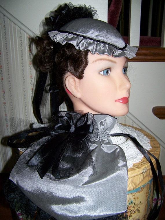 Civil War Hatand Reticule,Victorian Ladies,Gray teardrop ridged satin with Black Satin ruffle costume