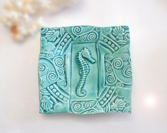 Pottery Seahorse Ring Dish - Seahorse Spoon Rest - Sponge Holder -Seahorse Dish Ring Holder Ring Dish Teaspoon -Teabag Holder Aqua
