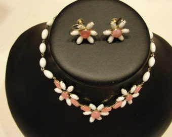 crazy ad stream pink and white milkglass necklace and screwback earrings coro