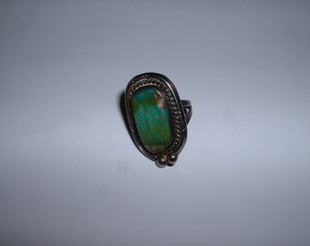 Vintage Sterling Silver Turquoise Large Stone Ring Size 6 1/4 SALE