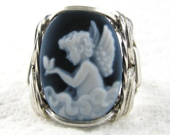 Angel Dove Agate Cameo Ring Sterling Silver Custom Jewelry