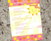 You Are My Sunshine Baby Shower Invitations - Girly - Summer - Printable Design - BAB30