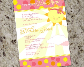 You Are My Sunshine Baby Shower Invitations   Girly   Summer   Printable  Design   BAB30
