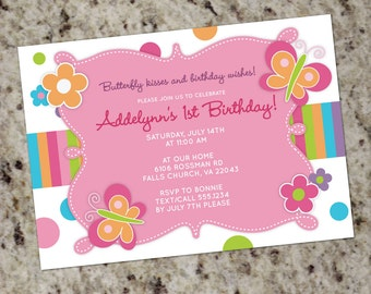 Butterfly Kisses - Girly Party Invitations - with or without Photo - Printable Design