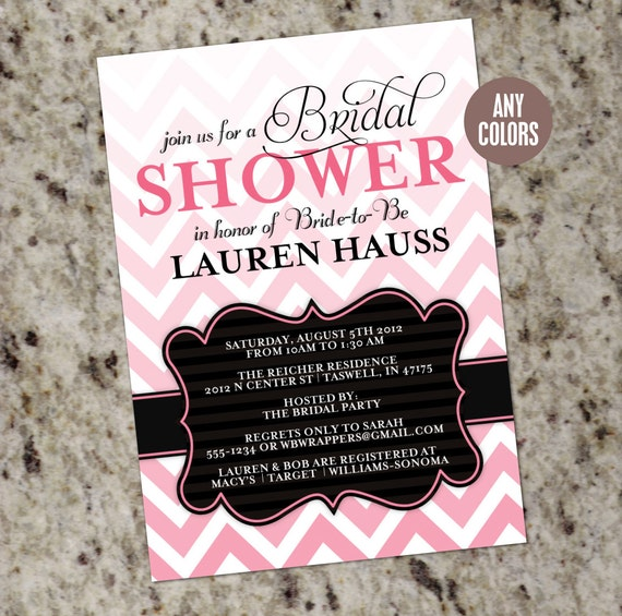 Ombre Chevron Elegant Bridal Shower Invitations - Print Your Own