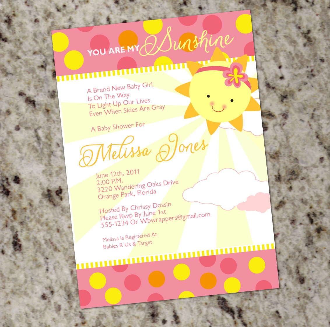 you are my sunshine baby shower invitations girly summer