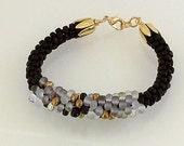 Black and Gold Kumihimo Beaded Bracelet