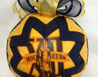 Big 12 WV Mountaineers Handmade QUILTED ORNAMENT 2012 (Ready to Ship)