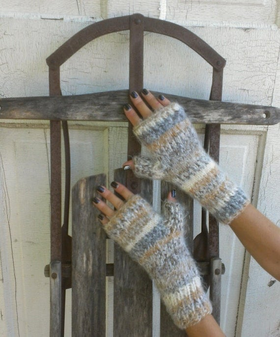 Fingerless Mittens Hand Knit Brown Gray Stripe